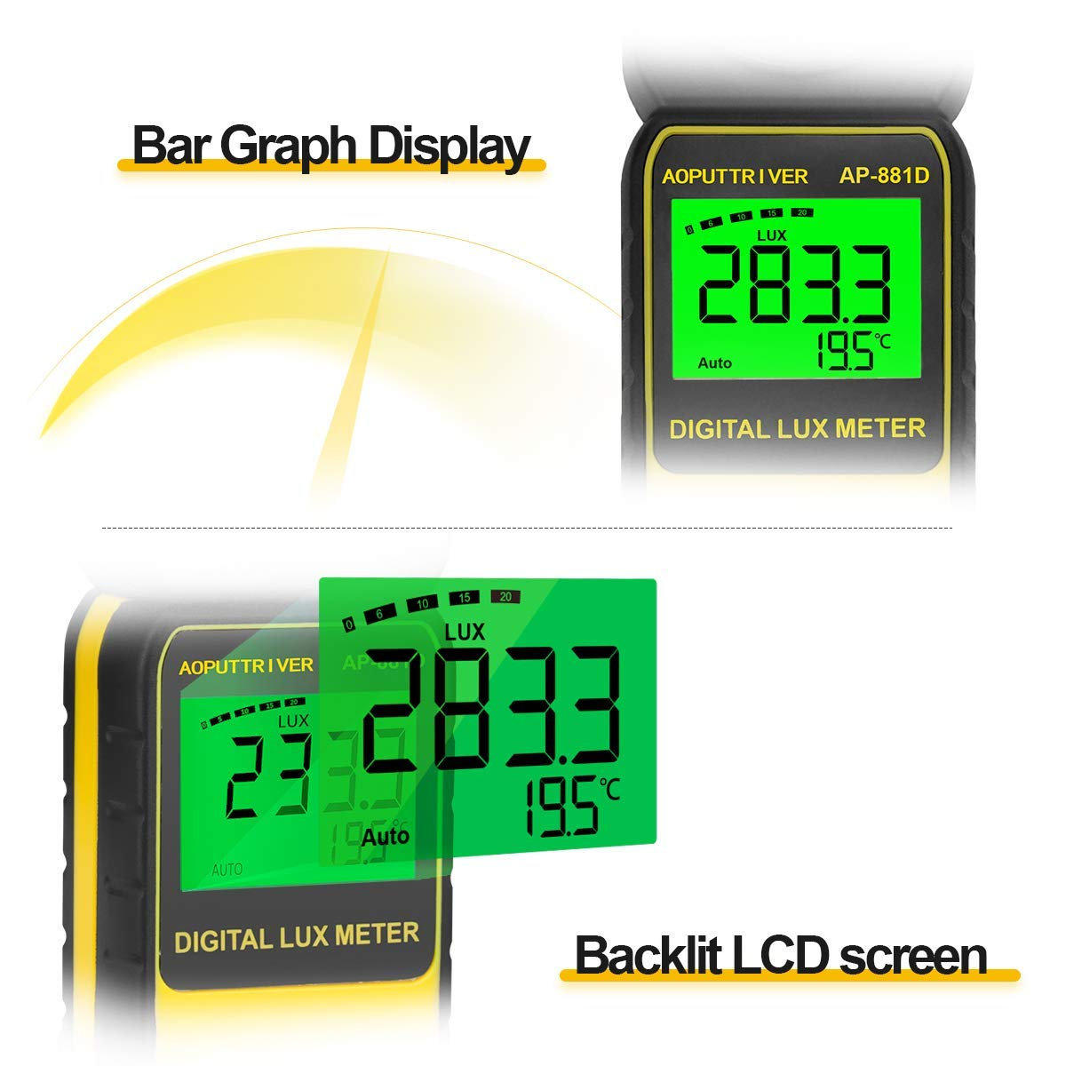 Light Meter 881D Digital Illuminance Meter Ambient Temperature Measurer with Range up to 400,000 Lux Luxmeter,Rotatable Head for 270 Degrees,Display 3999,Data Hold,Back Light,Max/Min Hold,Data storag by AOPUTTRIVER (Image #4)