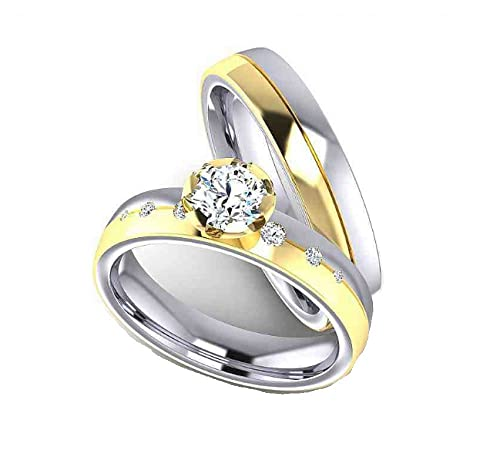 alianzas Partner anillos de compromiso Anillos Trau Amistad Anillos de titanio con circonitas/Laser grabado