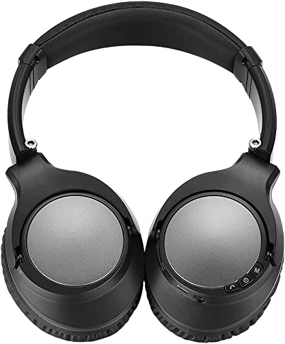 Wireless Bluetooth Headphones, Active Noise Cancelling Headphones with APT-X HiFi Stereo, Junwer V201 Over Ear Headset with Mic, 25 Hours Playback, for Travel TV Samsung PC Laptop Black Silver