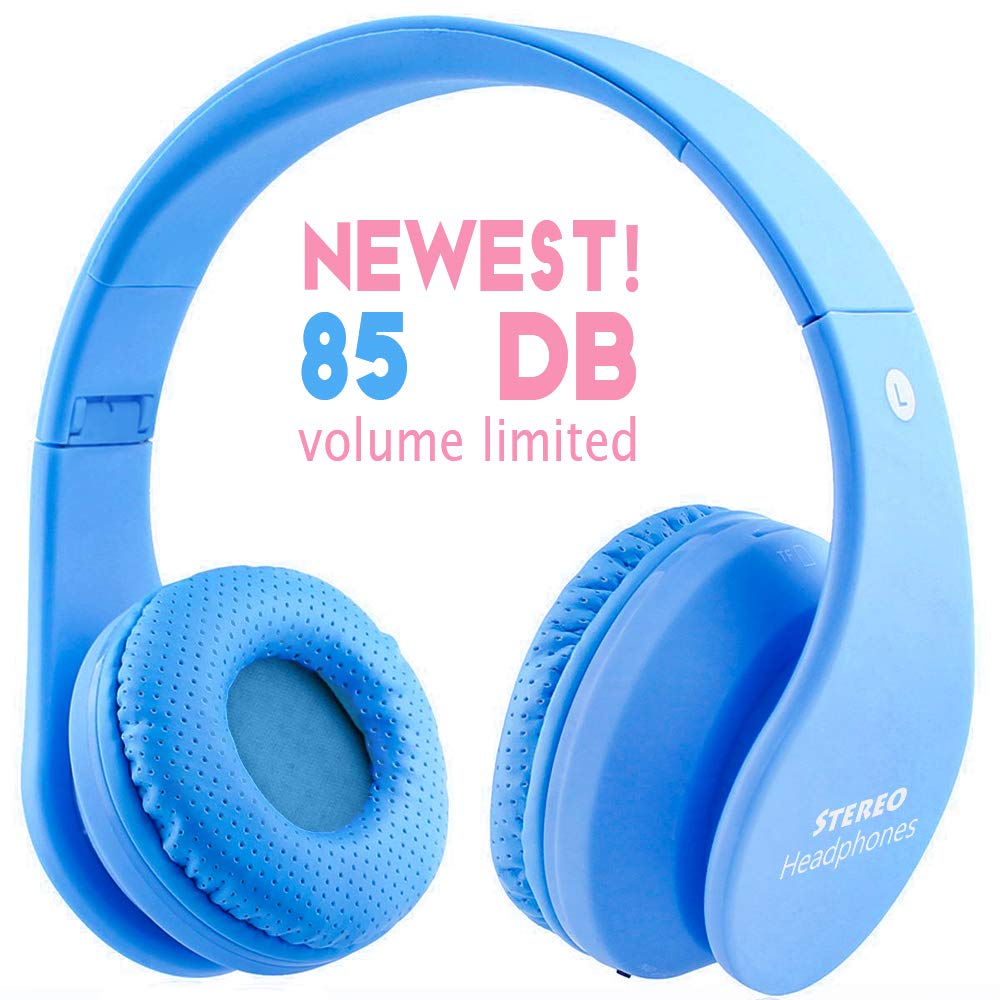 Newest Kid Bluetooth Wireless Headphones Safe 85db Volume Limited, Long Lasting Playing, Foldable Stereo Over-Ear Headset Build-in Mic, Wired Wireless Headphones for PC Tablet Kindle Blue