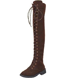 8a0a3bf6ff1a Damen Retro Beiläufig Elegante Winterschuhe Flach Anti Rutsch Sohle Hohe  Stiefel Martin Boots Schnürschuhe Shoes