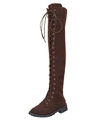 d14d15684386 Minetom Damen Retro Beiläufig Elegante Winterschuhe Flach Anti Rutsch Sohle  Hohe Stiefel Martin Boots Schnürschuhe Shoes