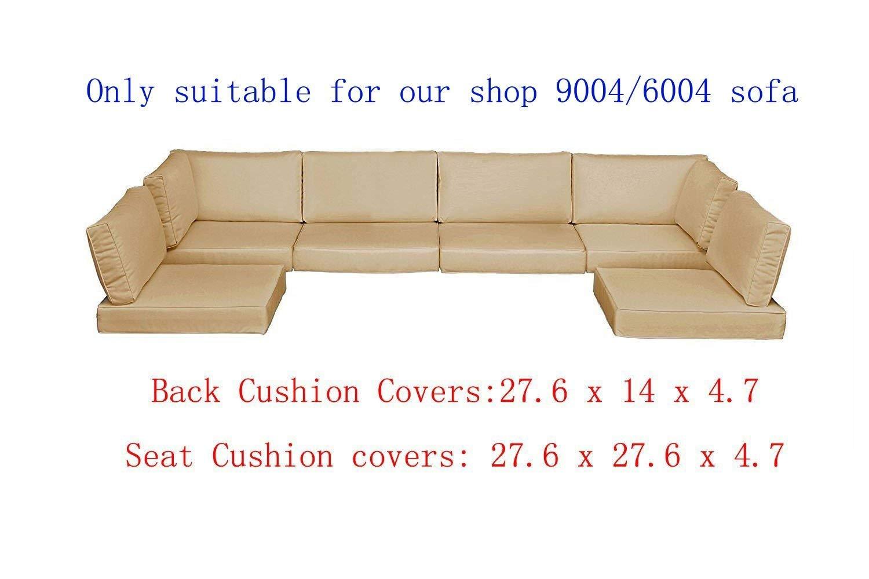 Do4U 7 Pieces Patio PE Rattan Wicker Sofa (Light Brown)