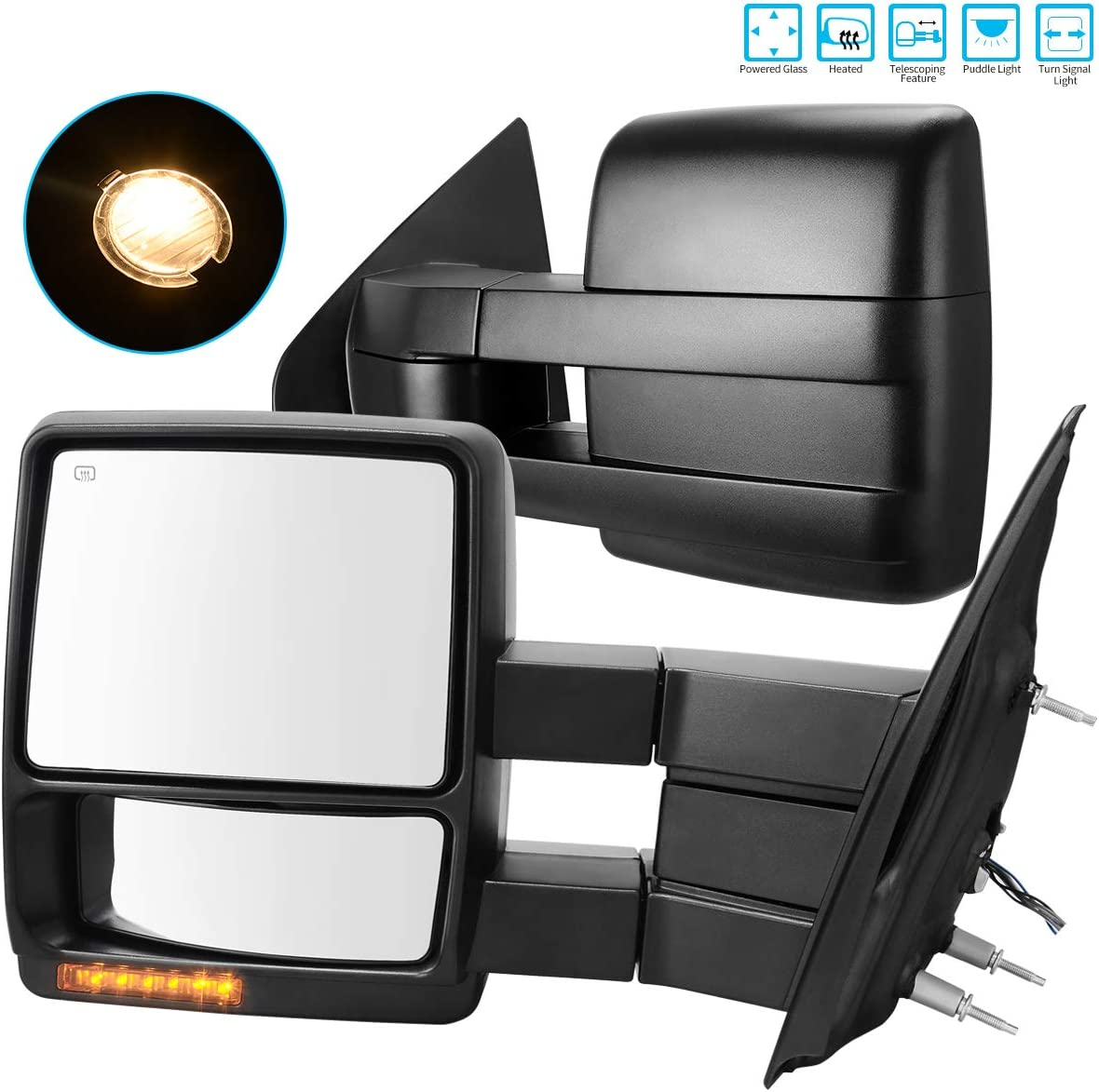 Trailer Tow Mirrors w//Power Electric Controlling Heated Glass Turn Signal and Puddle Lamp AUTOSAVER88 Towing Mirrors Compatible with 07-14 Ford F150 Truck Manual Telescoping and Folding Side Mirror