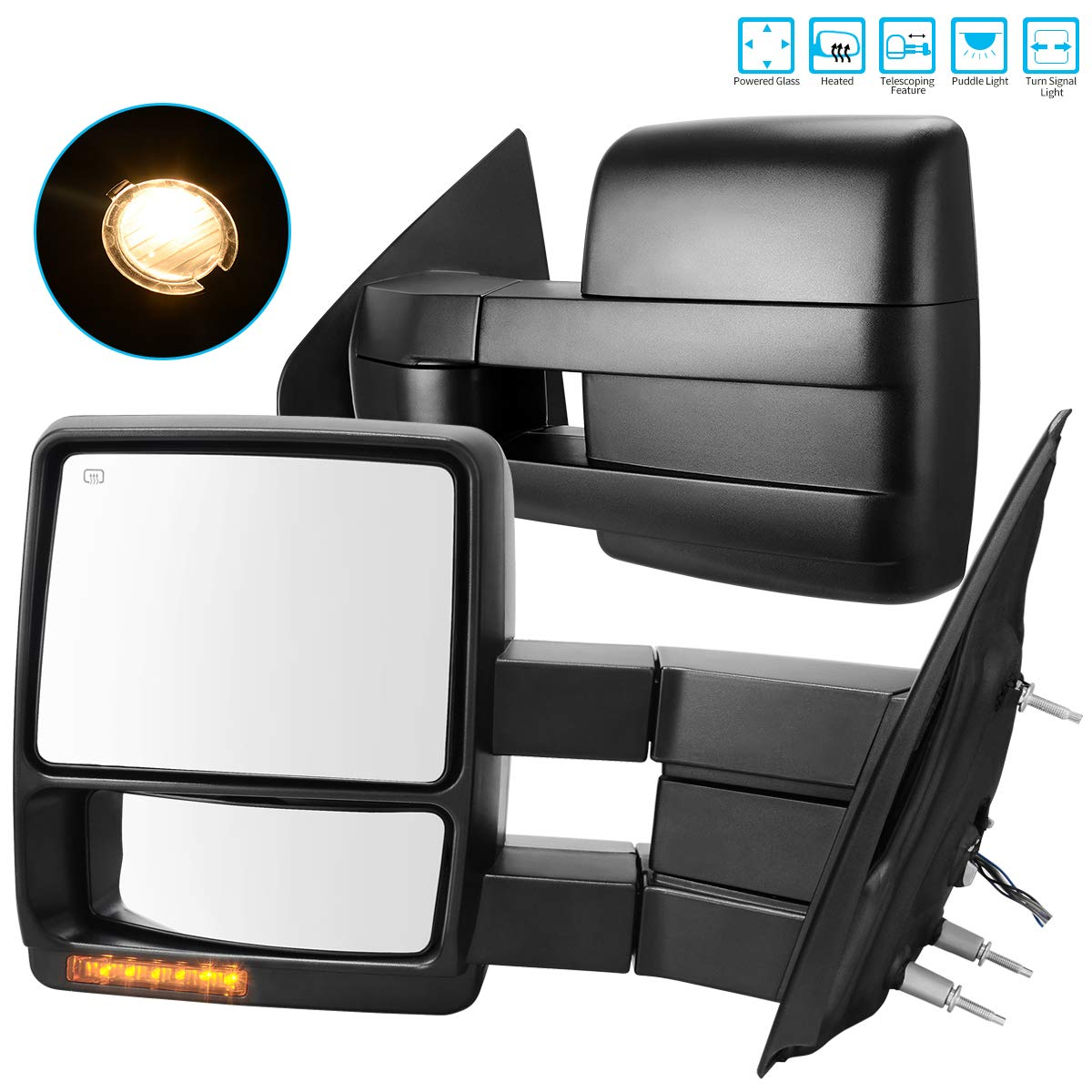 AUTOSAVER88 for 07-14 Ford F150 Truck Towing Mirrors, Tow Mirrors with Power Controlling Heated Glass Turn Signal and Puddle Lamp, Manual Telescoping and Folding Exterior Side Mirror by AUTOSAVER88
