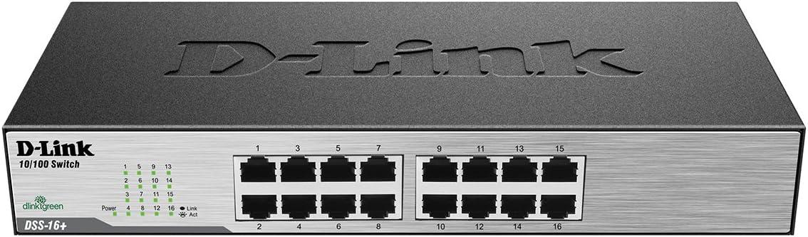 D-Link Ethernet Switch, 16 Port 10/100 Unmanaged Desktop, Fanless Rackmount Network Hub Internet (DSS-16+)
