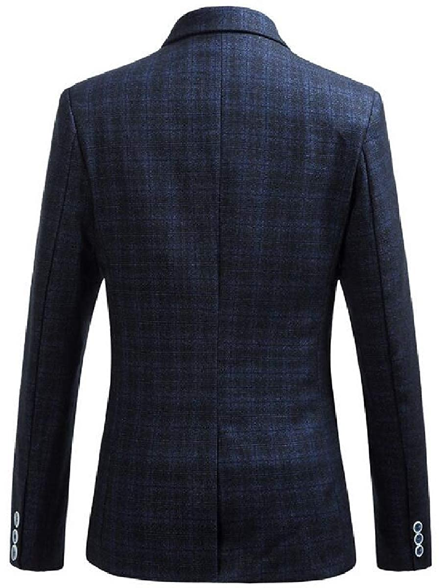 ONTBYB Mens Plus-Size Western Plaid Fall Winter Warm 1 Button Blazer Jackets