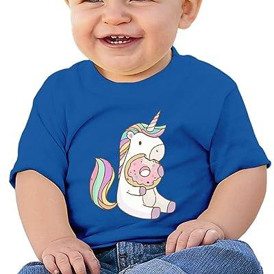 ANYE&&HF Unicorn Eating Tasty Donuts Unisex Baby T-Shirts