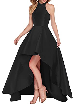 Ladsen Red Halter High-Low Ball Gown Stain Prom Dresses 2017 Black US0 Size