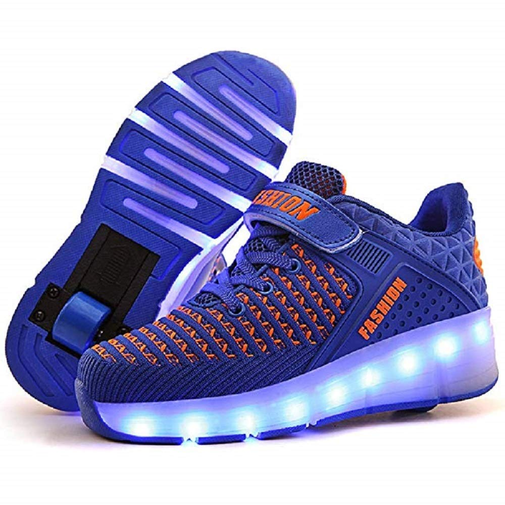 SDSPEED Kids Roller Skate Shoes with Single Wheel Shoes Sport Sneaker 7 Colors LED Rechargeable (LED Chameleon Blue, 1 M US Little Kid)