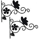 Rocinha 2 Pack Plant Hooks 12'' Hanging Plants Bracket, Iron Plant Wall Hanger for Flower Pot Bird Feeder Hanger, Plant Hange