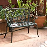 his green-finished aluminum garden bench lends a touch of simple charm to your outdoor ensemble. Set it next to a blooming and beautiful flower bed so you can lounge on sunny days, then set out comfy polypropylene pillows to keep things comfy...