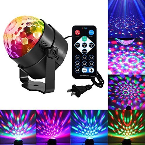 Led Disco Party Lights Ball Lights Zacfton Led Rotating Magic Sound Activated Lights 3W 7-Color Stage Strobe Effect Show Lamp Lighting Bulb Kids Night Lights for Birthday Club Party Holiday Wedding