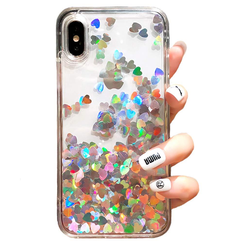 Black Lemon Liquid Case Compatible iPhone 7 Plus 8 Plus Quicksand Flowing Floating Bling Glitter Heart Soft Makeup Protective Case for Girls Women with Wrist Strap (Silver, iPhone 7 Plus / 8 Plus)