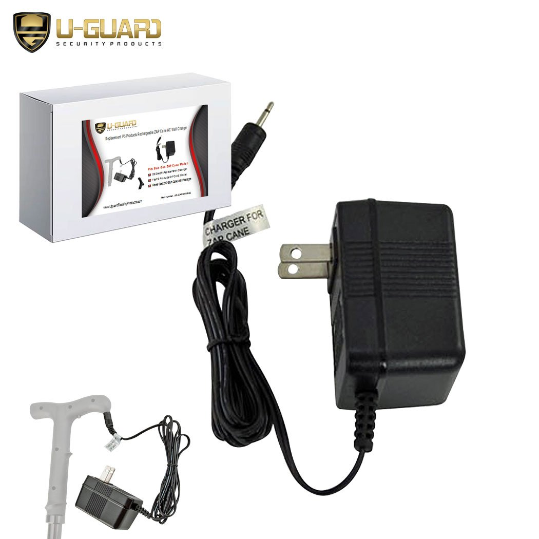 Zap Cane Replacement Charger for The PS Products Stun Gun Cane. The AC Adapter is The Direct OEM Taser Power Cord for The Rechargeable Walking Cane LED Flashlight Model ZAPCANE UPC # 797053100251.