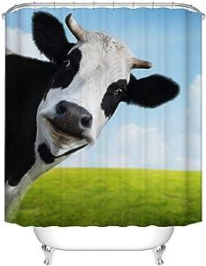Fangkun Custom Bathroom Shower Curtain Decor Set - Milk Cow Pasture Meadow Grassland Design - Waterproof Polyester Fabric Bath Curtains - 12 pcs Shower Hooks - 72 x 72 inches