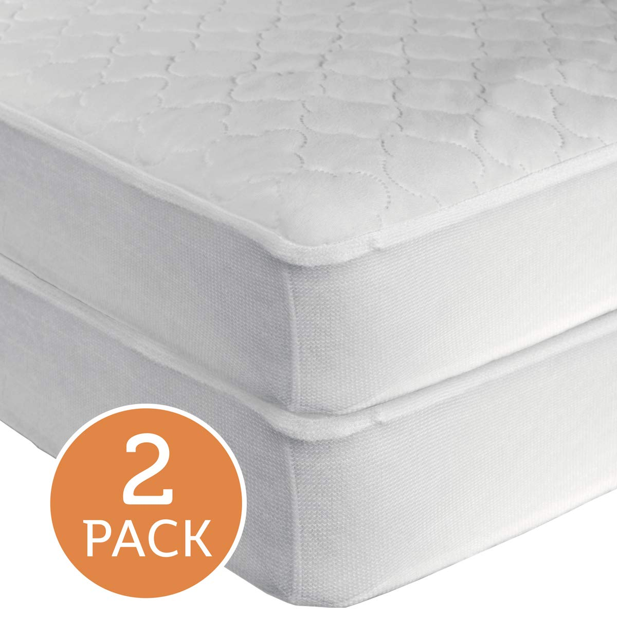 """Sealy Waterproof Fitted Toddler and Baby Crib Mattress Pad Cover 2-Pack - 100% Waterproof, Deep Fitted Stretch Skirt, Machine Washable & Dryer Friendly 52""""x28"""", 2 Protector Pads, White"""