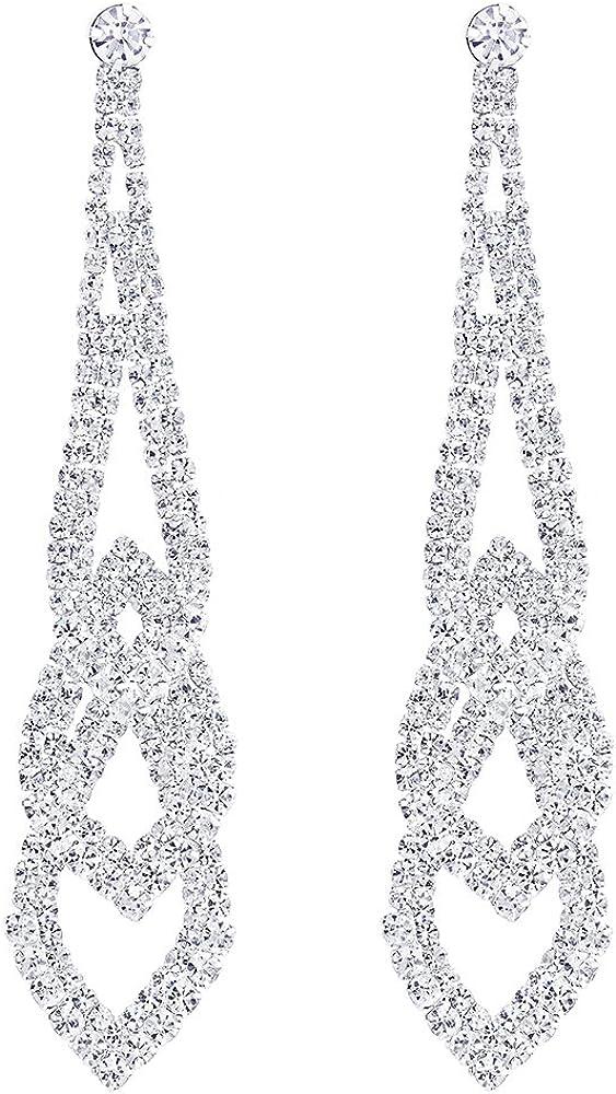 Brillante Rhinestones Cluster Chandelier Araña de Luces Trenzado Largo Lágrima Pendientes, Fiesta Prom Vestir