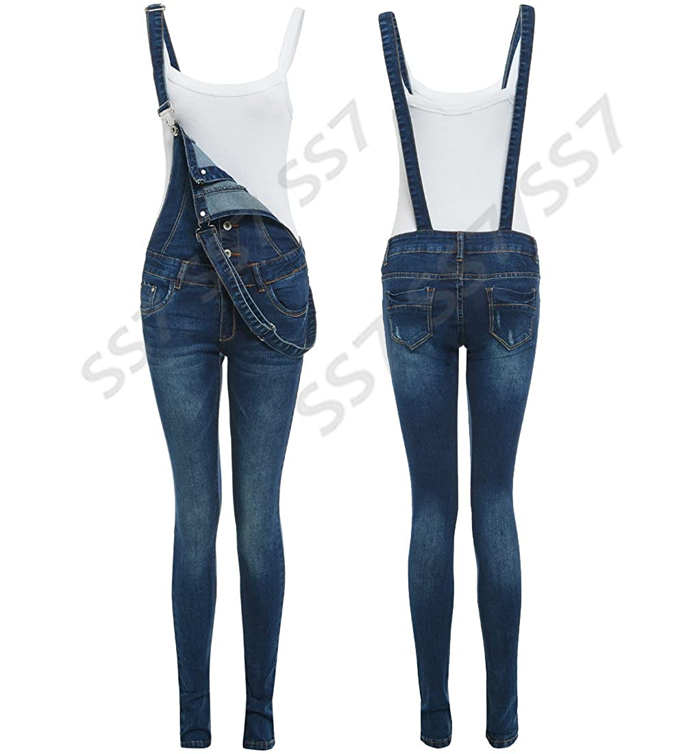 SS7 Dungaree Skinny Fit Stretch Denim Blue Womens Size 8 10 12 14 Ladies Dungarees Jeans