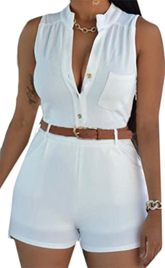 154191ba69d3 Image Unavailable. Image not available for. Color  Cromoncent Womens Summer  Belt Pocket Sleeveless Short ...