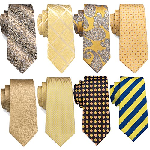 Yellow Ties Set Silk Paisley Wedding Necktie Men Suit Fromal Party (Yellow Stripe Tie)