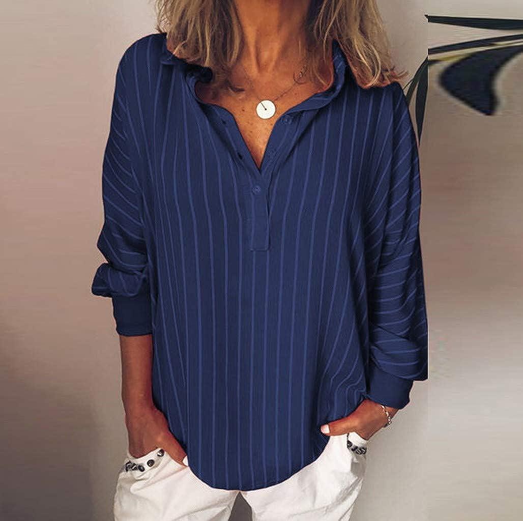 Miuye yuren-Clothing Button Tops For Women Stripe Tunic Blouse Tshirts Lapel Tees Camis Tunic Tops