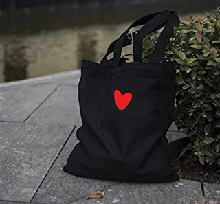 Tote Bags della lezione di Moda Il Nero Semplice Stampato della Borsa dello Studente della Chiusura Lampo della Borsa della Tela Stampata Cuore di Amore Originale di Amore