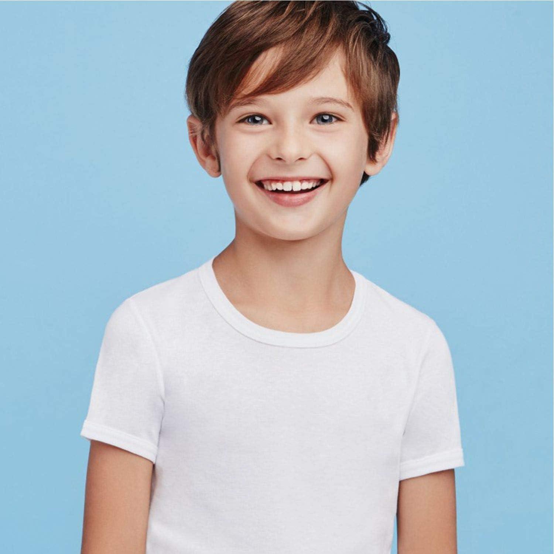 Ellepi 6 Canotte o Magliette Intime Bimbo in Puro Cotone Anallergico con Cuciture Comfort Colore Bianco.