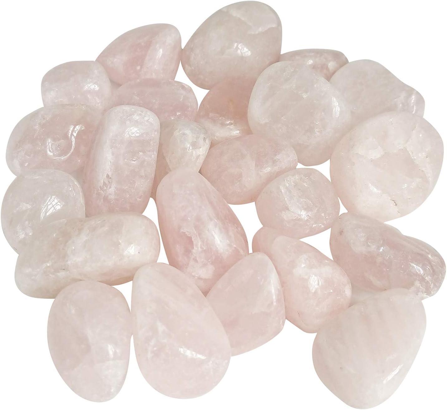 Hulless 1.5 Pounds Pink Rose Quartz Stone, Polished Natural Stones for Fish Tank, Flowerpot, Reiki, Healing Crystal