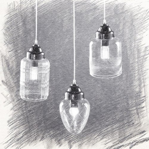 40W Classic Vintage Lantern Country Nickel Glass Pendant Lights Living Room Bedroom Dining