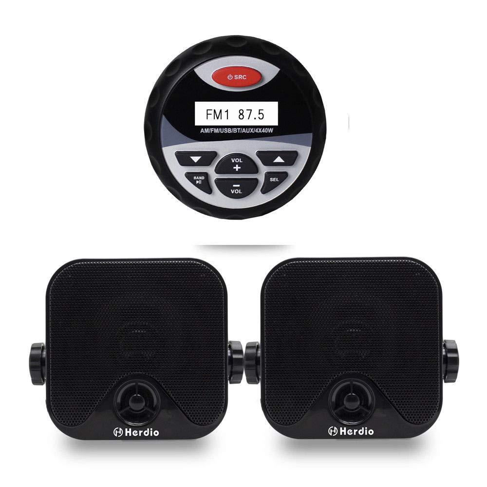 Herdio Receiver/Speaker Package, Bluetooth, MP3/USB AM/FM Marine Stereo Bundle for Boat ATV UTV SPA.Marine +Speakers+Radio