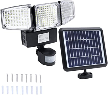 Amazon Com 188 Led Solar Light With Motion Sensor Outdoor 3 Head Flood Light Ultra Bright Waterproof Wall Light For Patio Deck Garden Driveway Sports Outdoors