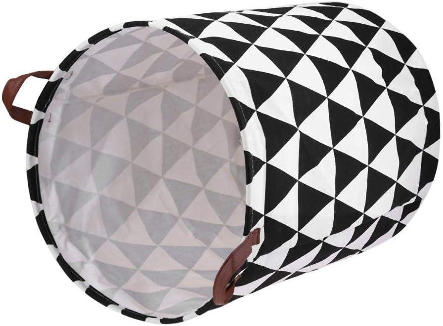 WZLJW Grand panier à linge pliable en toile ronde étanche pour vêtements jouets et jouets avec poignées en cuir Triangles Inversés.