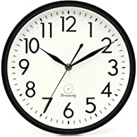 DreamSky 10 Inches Silent Non-Ticking Quartz Wall Clock, Decorative Indoor Kitchen Wall Clock, 3D Numbers Display, Battery Operated Wall Clocks