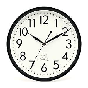 DreamSky 10 inches Silent Non-Ticking Quartz Wall Clock Decorative Indoor Kitchen Clock, 3D Numbers Display, Battery Operated Wall Clocks