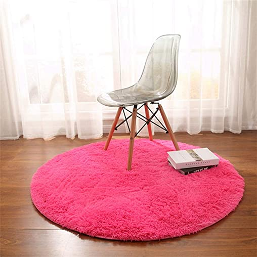 MOXIC Solid Round Area Rugs Soft Shag Living Room Bedroom Children Rug Anti-Slip Plush Carpet Bathroom Mats Circular Modern Home Decorate Nursery Runners Fushcia 6.5 X 6.5
