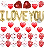 Valentine Decorations I LOVE YOU - Balloons Kit, Pack of 35 - Heart Shape Latex Balloons - Heart Print Latex Balloons - Valentines Day Decorations - Heart Foil Balloon Red and White Valentine Balloons