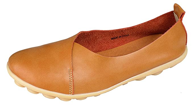 Kunsto Women's Leather Loafer Glove Shoes US Size 5.5 Camel