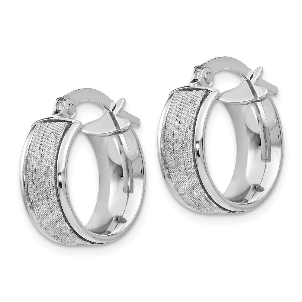 Leslies Real 14kt White Gold Glimmer Polished Hoop Earrings
