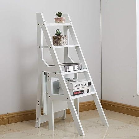 XITERTE Escalera de 4 peldaños Estante de bambú de usos múltiples Plegables Escalera escalonada Escalera para el hogar Biblioteca Cocina Desván (Color : White): Amazon.es: Hogar