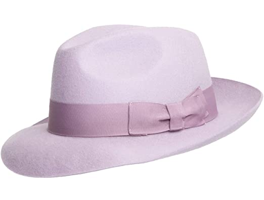627ce194750 Lilac Hand Made Gents Fedora Felt Trilby Hat with Wider Brim 100% Wool New:  Amazon.co.uk: Clothing