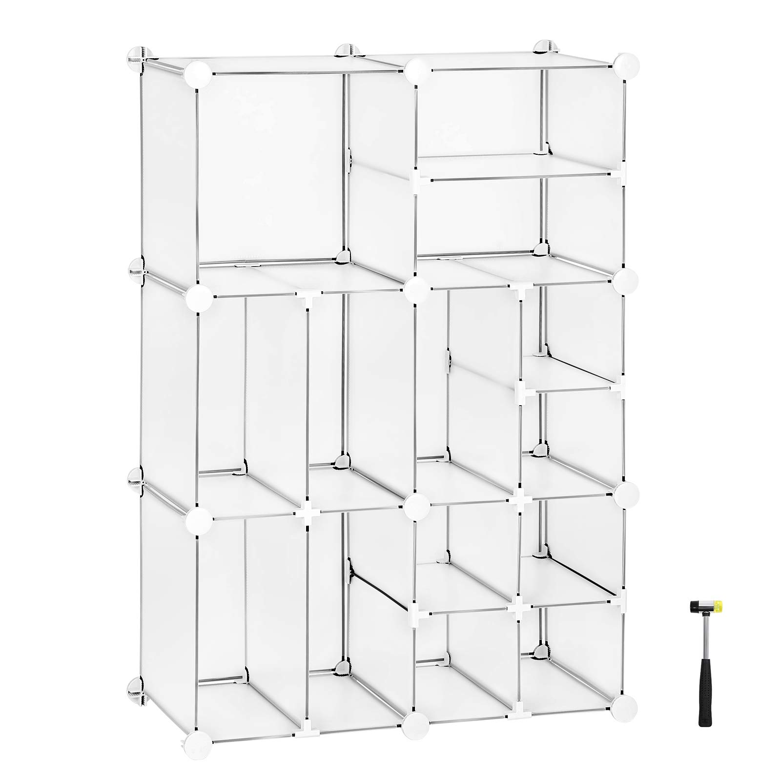 SONGMICS Cube Storage, Plastic Closet Organizer Unit, Space Saving Shelving Unit, Large and Small Style Design for Closet, Living Room, Clothes, Toys, 24.8''L x 12.2''W x 36.6''H White ULPC601W