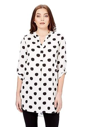 3eb7177a054dd Roman Originals Women Polka Dot Print Tunic - Ladies Daywear Office Modern  Long Blouse Tops Tunics with 1 2 Sleeves Shirts - Ivory - Size 20   Amazon.co.uk  ...