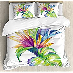 Ambesonne Plant Duvet Cover Set Queen Size, Tropical Leaves and Monstera with Abstract Color Scheme Hawaiian Floral Elements, Decorative 3 Piece Bedding Set with 2 Pillow Shams, Multicolor