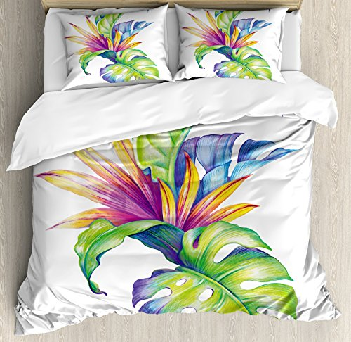 Ambesonne Plant Duvet Cover Set, Tropical Leaves and Monstera with Abstract Color Scheme Hawaiian Floral Elements, Decorative 3 Piece Bedding Set with 2 Pillow Shams, Queen Size, White Green