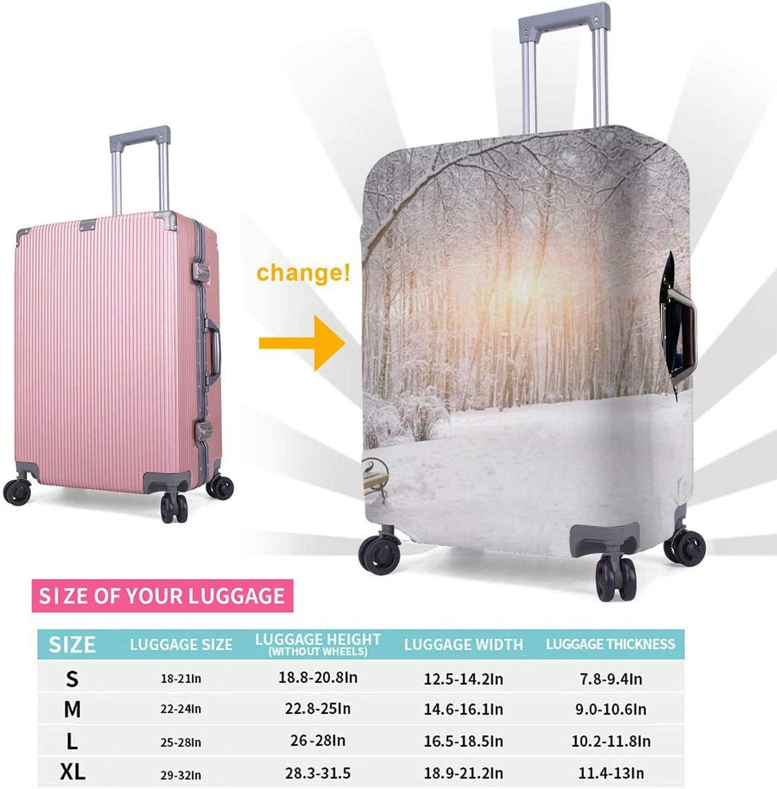 Travel Luggage Cover Spandex Suitcase Protective Cover Washable Baggage Carry on Protector Size XL L M S Snow Covered Trees and Benches in the City Park Sunset XL