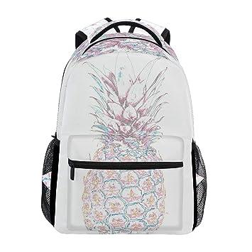 31bc27201c0c3 Pink Ananas Rucksack Wasserdicht Schulranzen Gym Rucksack Weiß Frucht Laptop  Tasche Outdoor Reise Tasche für Kinder