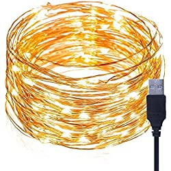 GreeSuit 33 ft 100 LEDs String Lights Waterproof Decor Lights Fairy String Lights Starry Firefly Lights for Bedroom, Patio, Garden, Wedding Party - Copper Wire Lights, Warm White