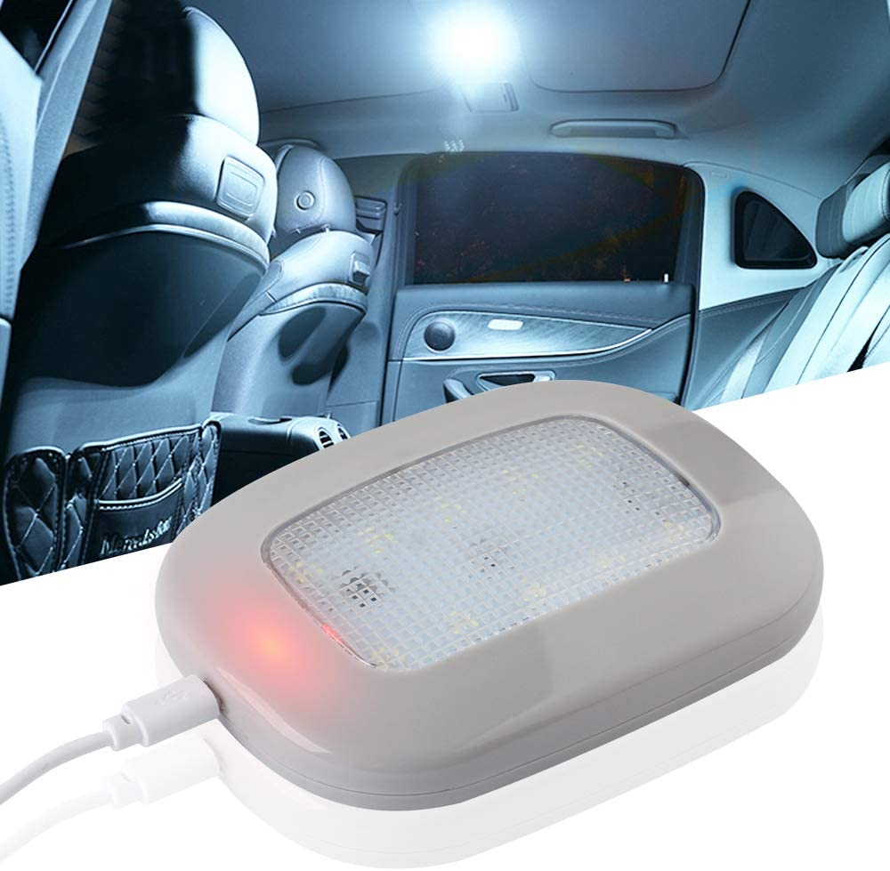 yifengshun 10LEDs Auto Car Ceiling Roof Lights Universal USB Rechargeable Wireless LED Dome Light White for Interior and Exterior of Car, Boat, Trailer, Motorhome,Truck