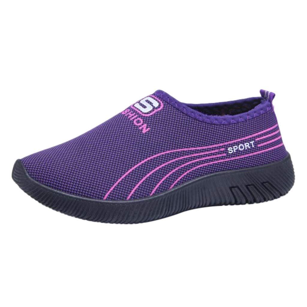 Garish  Women's Striped Casual Anti-Slip Sport Walking Sneakers Loafers Soft Shoes,Easy Wear Shoes Purple